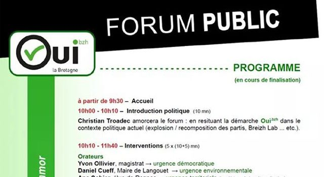 Le Forum Oui la Bretagne ! le 13 octobre : réservez votre date !